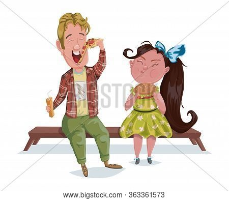 Little Boy And Girl Eating Pizza And Burger. Kids Enjoying Their Favorite Food. Funny Cartoon Charac
