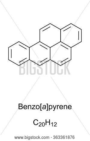 Benzopyrene Skeletal Formula And Molecular Structure. Polycyclic Aromatic Hydrocarbon, Pah. Carcinog