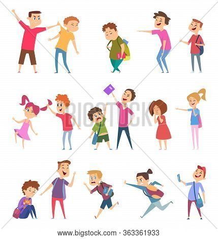 Bullied Characters. School Kids Conflict Social Problems Of Stressed People Scared Emotions Vector C