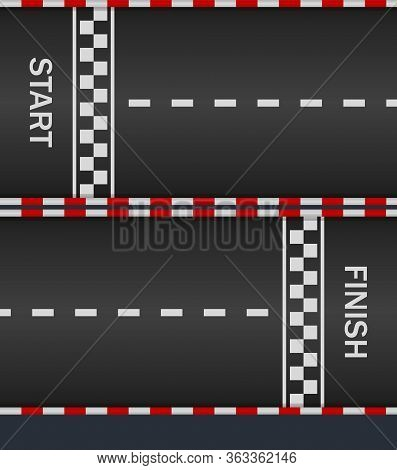 Race Track With Start And Finish Line For Car. Asphalt Road On F1. Texture For Racing Top Formula. P