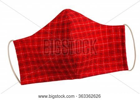 Handmade Protective Face Masks. Diy Antivirus Cotton Mask. Red Facemask Isolated On White.