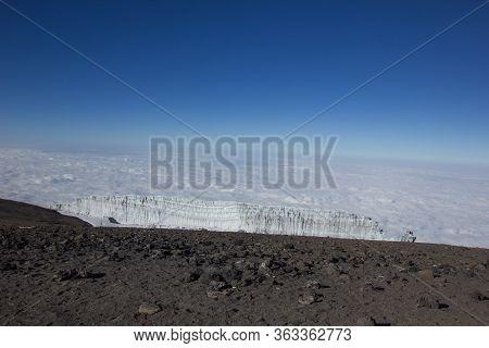 Glacier On The Mount Kilimanjaro In Tanzania