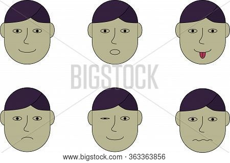 Veclor Collage Of Illustrations Or Pictures Of Man Faces In Different Mood: Joy Or Happy, Wonder, To