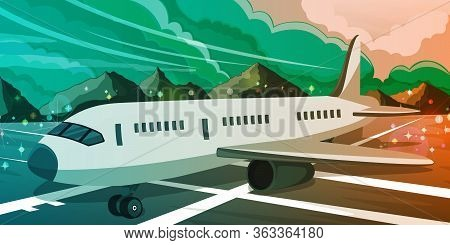 Commercial Airplane Standing On The Airport Runway At Sunset. Night Scenic View On The Lights And Cl