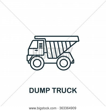 Dump Truck Icon. Simple Line Element Dump Truck Symbol For Templates, Web Design And Infographics