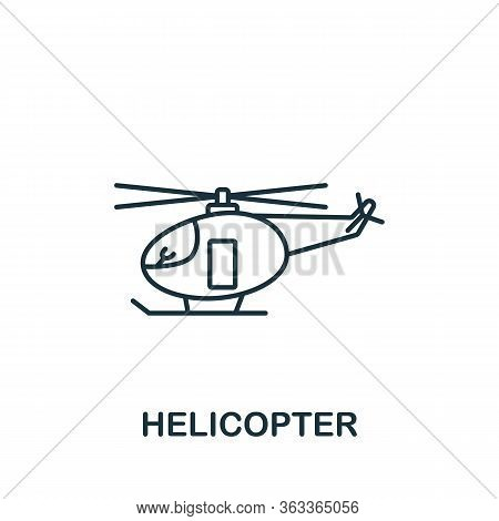 Helicopter Icon. Simple Line Element Helicopter Symbol For Templates, Web Design And Infographics