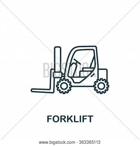 Forklift Icon. Simple Line Element Forklift Symbol For Templates, Web Design And Infographics