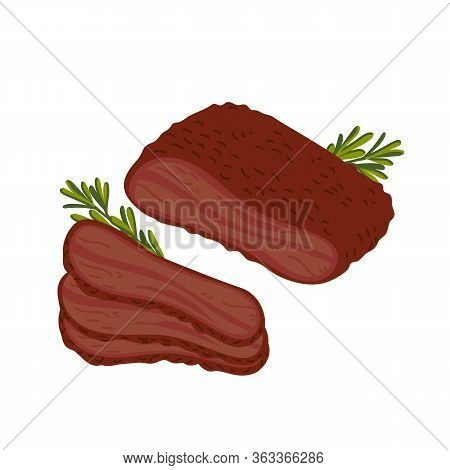 Brisket. Meat Delicatessen On White Background. Slices Of Barbecue Beef Brisket. Simple Flat Style V