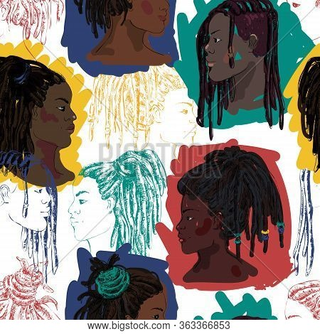 Seamless Pattern With Portraits Of Beautiful African American Men And Women With Dreadlocks In Profi
