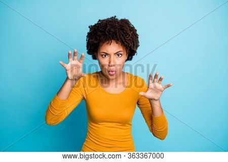 Portrait Of Funky Frightening Afro American Girl Want Scary Her Friends On Haloween Party Imagine Sh