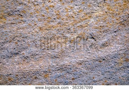 Old  Moldy Granite Stone Texture Background. Old Granite Wall Texture. Old Granite Wall With Yellow