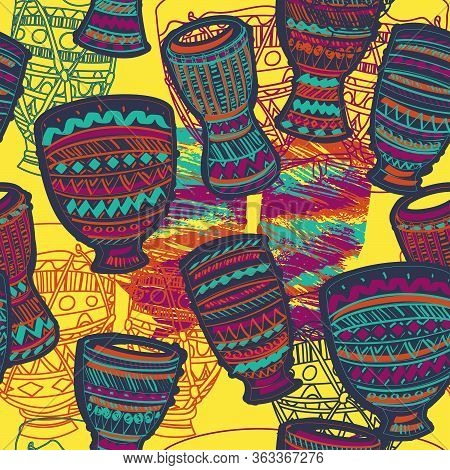 Seamless Pattern With Drums Tam Tam. Colorful Background. Vector Illustration