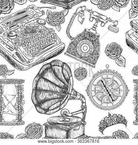 Seamless Pattern With Vintage Objects. Typewriter, Phone, Hourglass, Gramophone, Compass, Tiara, Ros
