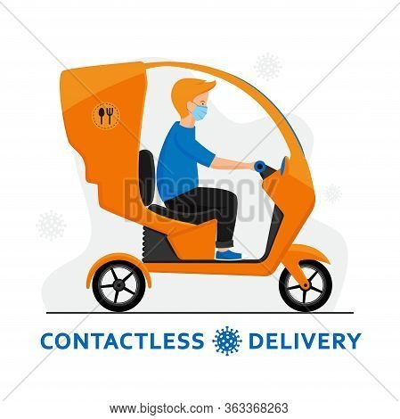 Contactless Delivery By Trike During Coronavirus Outbreak. Courier In A Medical Mask On Tricycle Del