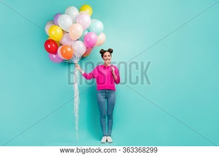 Full Length Body Size View Of Her She Nice Attractive Cheerful Wavy-haired Girl Holding In Hand Air