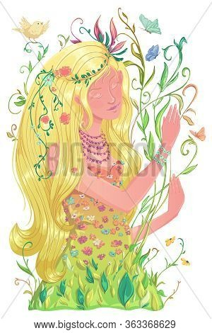 Portrait Of Beautiful Spring Girl With Long Blond Hair And Dress With Flowers And Leaves, Butterflie