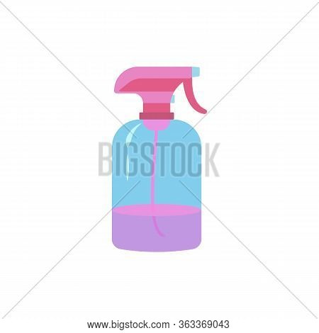 Cartoon Plastic Transparent Spray Bottle With Water For Hairdressers. Object Isolated On White Backg