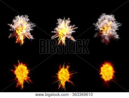 Many Round Explosions Of Missile Interception Blast Or Ack-ack Shell Hit Or View From Top On Bang Is