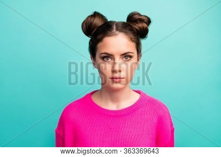 Close-up Portrait Of Her She Nice-looking Well-groomed Attractive Lovable Calm Content Girl Isolated