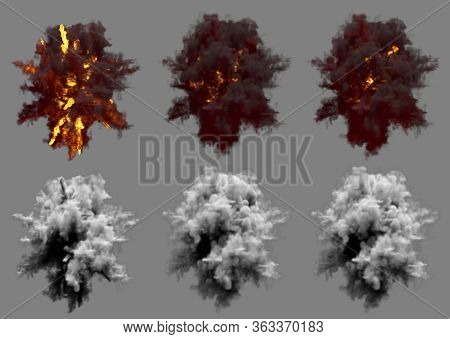 Set Of Round Explosions Of Ack-ack Shell Hit Or View From Above On Bang Or Missile Interception Blas