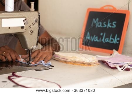 Small Business Of Mask Producing And Selling At Home In India Due Shortage Of Medical Masks During C