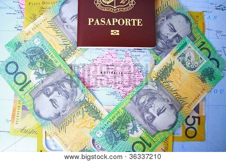Passport and Australian money