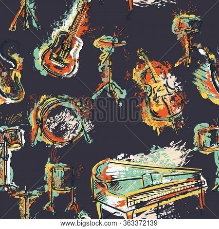 Seamless Pattern With Musical Instruments Set. Design Concept For Jazz Music Party. Piano, Saxophone