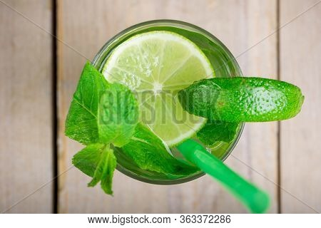 Cocktail Drink, Top View, Isolated On Woden Background