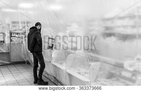 Bucha, Ukraine - Apr. 24, 2020: Demarcation The Areas With The Film During Quarantine In Pharmacies.
