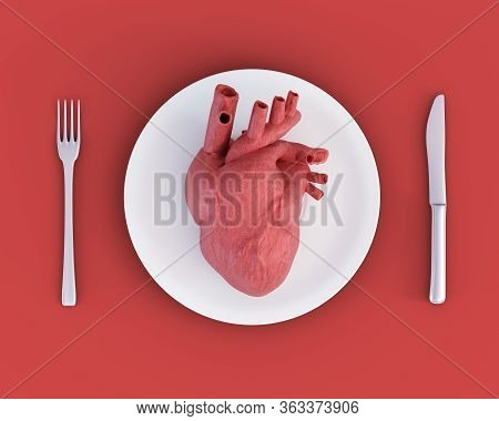 3d Illustration Of Anatomical Heart On Plate, Knife And Fork. Concept Of Toxic Relationship, Heartbr