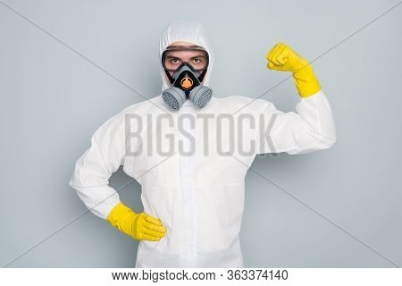 We Save Lives. Photo Of Disinfectant Show Strong Biceps Muscle Pandemic Highly Recommend Citizens St