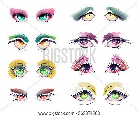 Cartoon Anime Eyes Set. Manga Kawaii Eyes With Different Colors, Expressions And Grunge Eyeshadows,
