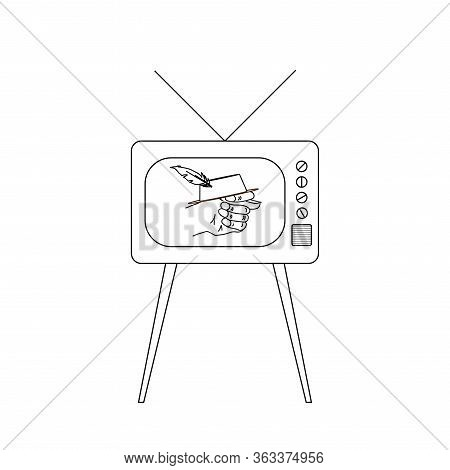 The Vector Picture Or Icon Of Old Tv Set Or Television With Fico Or Fog Gesture On Screen Made By Me