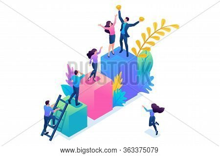 Isometric Concept Young Entrepreneurs, Start Up Project, Successful Business, Ladder To Success. Con