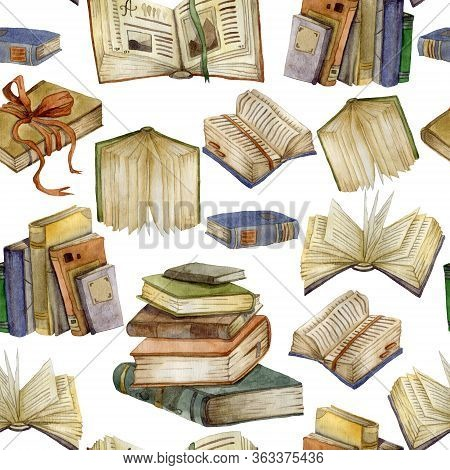 Seamless Pattern With Watercolor Books Set. Open Books And Stack Of Books. Education And Knowledge C