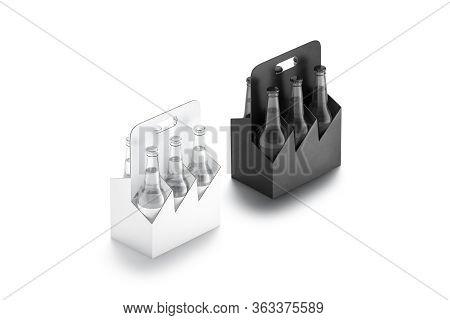 Blank Black And White Glass Beer Bottle Cardboard Holder Mockup Set, 3d Rendering. Empty Carton Sixp