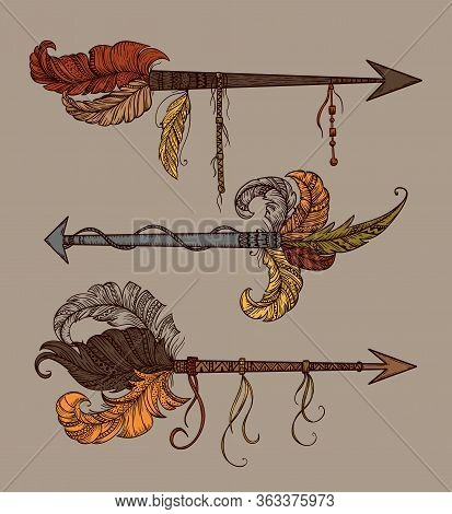 American Indian Arrows With Ornaments Set. Ethnic Native Tribal Design Concept. Vector Illustration