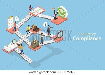 3d Isometric Flat Vector Concept Of Regulatory Compliance.