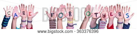 Children Hands Building Word Care For Others, Isolated Background