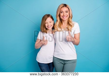 Photo Of Two People Attractive Mommy Lady Little Daughter Hold Thumb Fingers Raised Up Express Agree