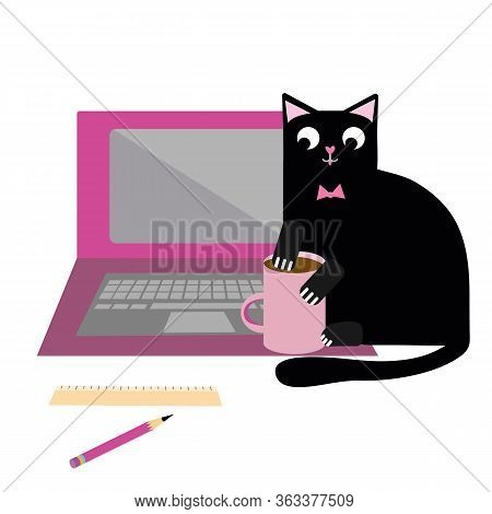 Cute Cartoon Pet Cat And Laptop Vector Illustration. Cheeky Black Feline Character Plays With Coffee