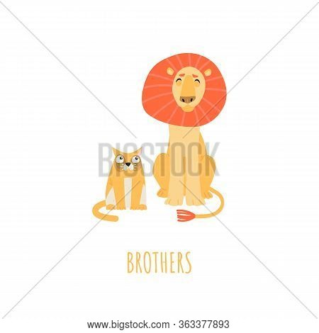Brotherhood Concept With Cartoon Lion And Cat Isolated On White Background. Vector Illustration In A