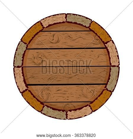 Wooden Barrel Isolated On White Background. Cask Icon. Blank Circle Board. Wooden Keg With Copy Spac