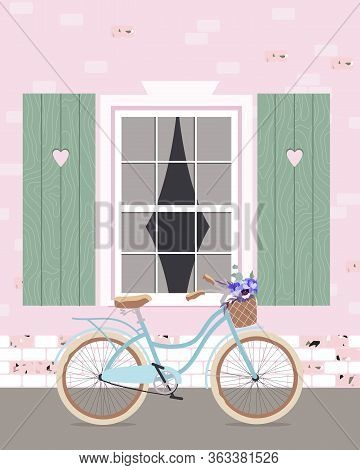 A Bicycle Leaning Against A Wall. Sky Blue Bicycle Under The Window. Modern Romantic Illustration Of