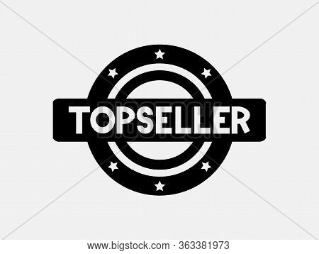 Black Top Seller Logo Icon Sticker With Stars Over White Background