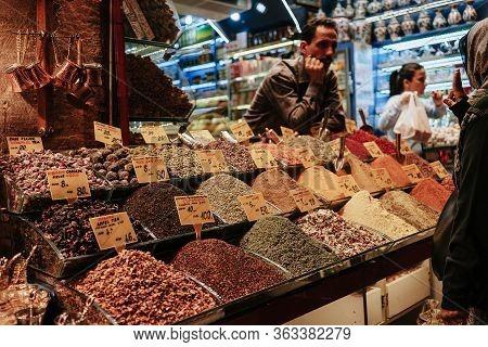 Istanbul, Turkey. - April 6, 2018. A Variety Of Oriental And Herbal Teas In The Eastern Bazaar.