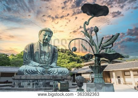 The Giant Buddha Statue In Golden Hour At Kamakura Japan.