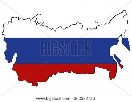 Card Russian Federation In Colour Of The Flag