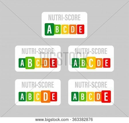 Nutri Score For Packaging Design. Logo, Icon, Label. Vector Stock Illustration.