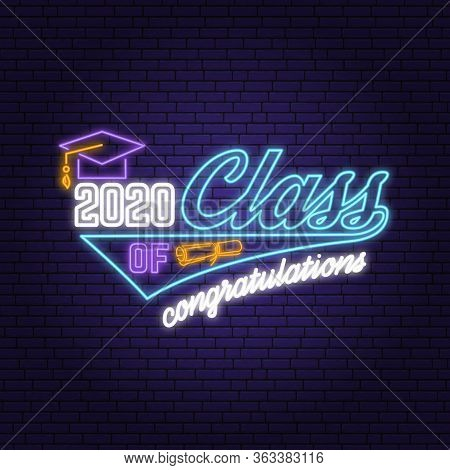 Class Of 202 Neon Bright Signboard, Light Banner. Vector Illustration. Neon Typography Design With G